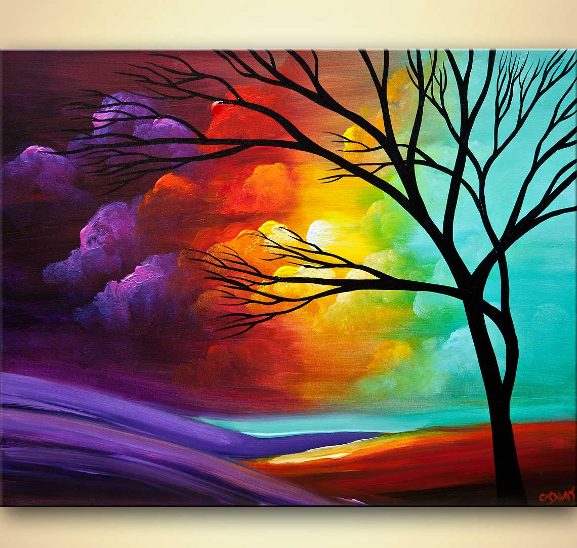 Modernist Landscape Paintings  Painting for sale modern landscape tree painting 8028