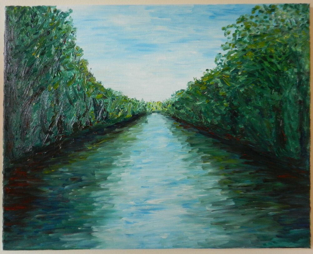 Modernist Landscape Paintings  MODERN FINE ART ABSTRACT IMPRESSIONIST RIVER CANAL