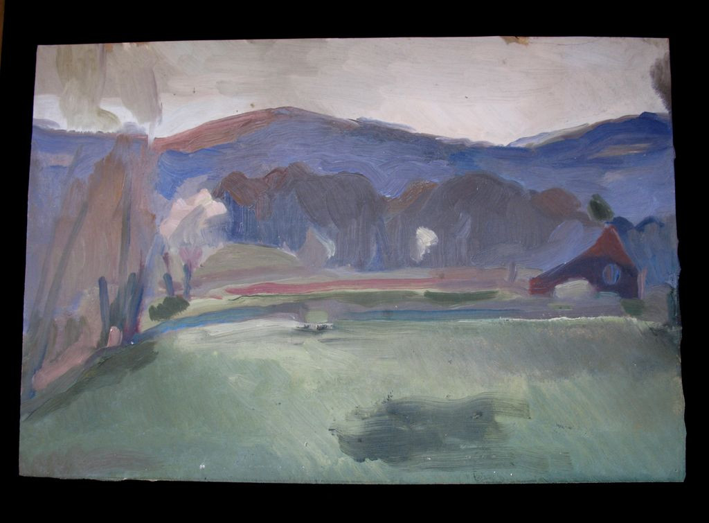 Modernist Landscape Paintings  Vintage 30s French Modernist Semi ABSTRACT Landscape