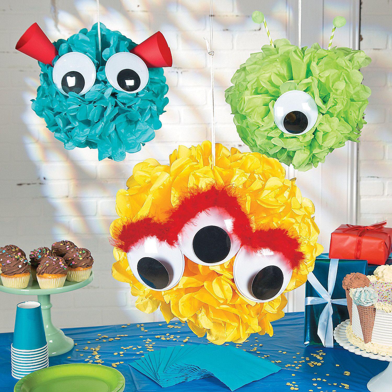 Monster Birthday Party Decorations  Monster Pom Pom Decor Idea
