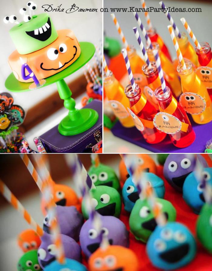 Monster Birthday Party Decorations  Kara s Party Ideas Monster Boy Girl 4th Birthday Party