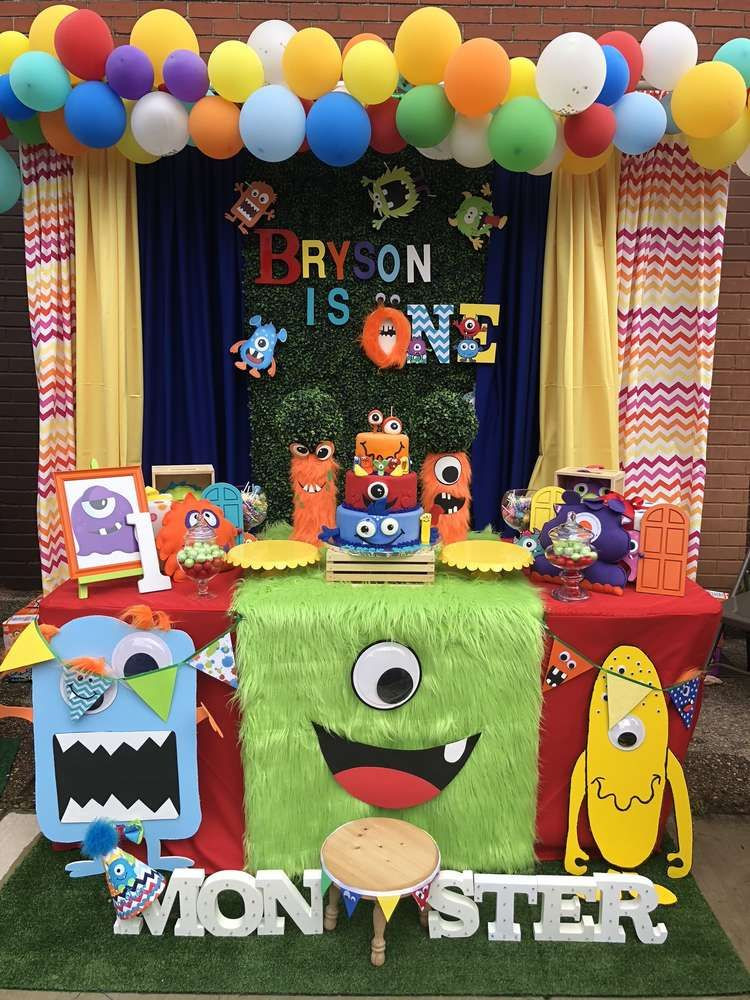 Monster Birthday Party Decorations  Loving the dessert table and party decorations at this