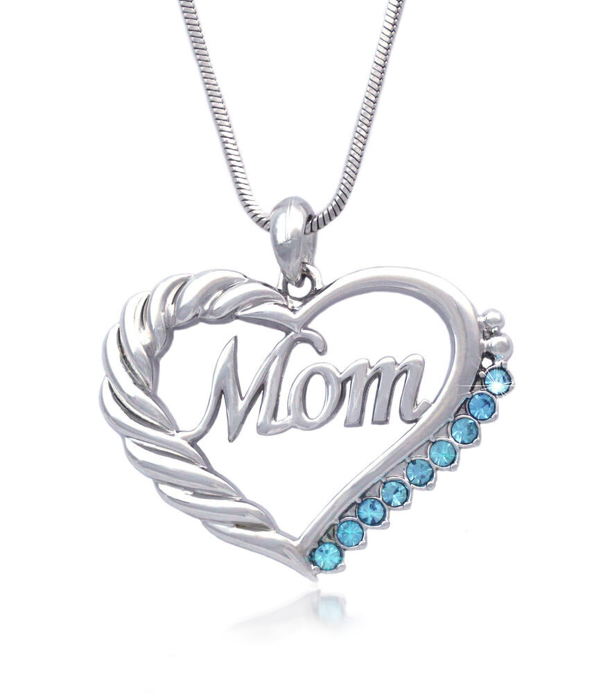 Mother's Day Gifts  Mother s Day Birthday Gift MOM Word Aqua Blue Crystal