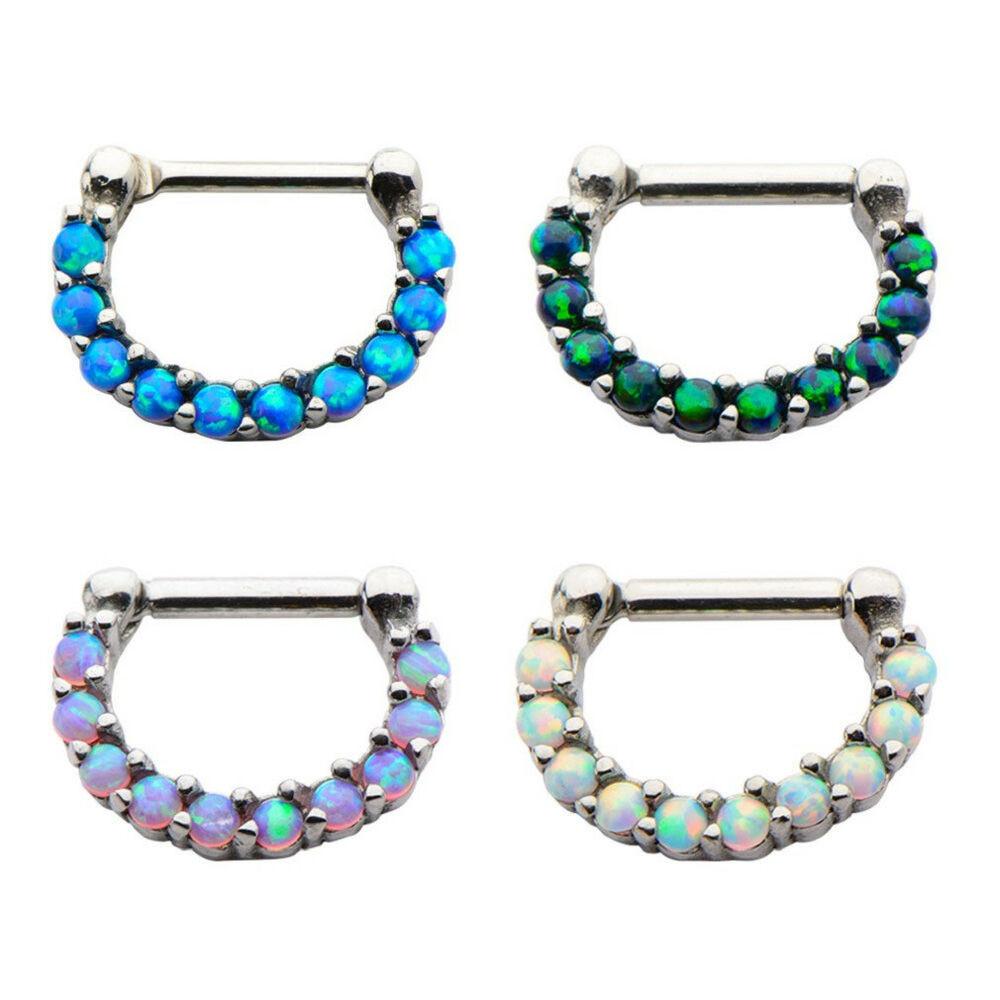 Opal Body Jewelry  1Pc 16g septum nose ring clicker body jewelry piercing
