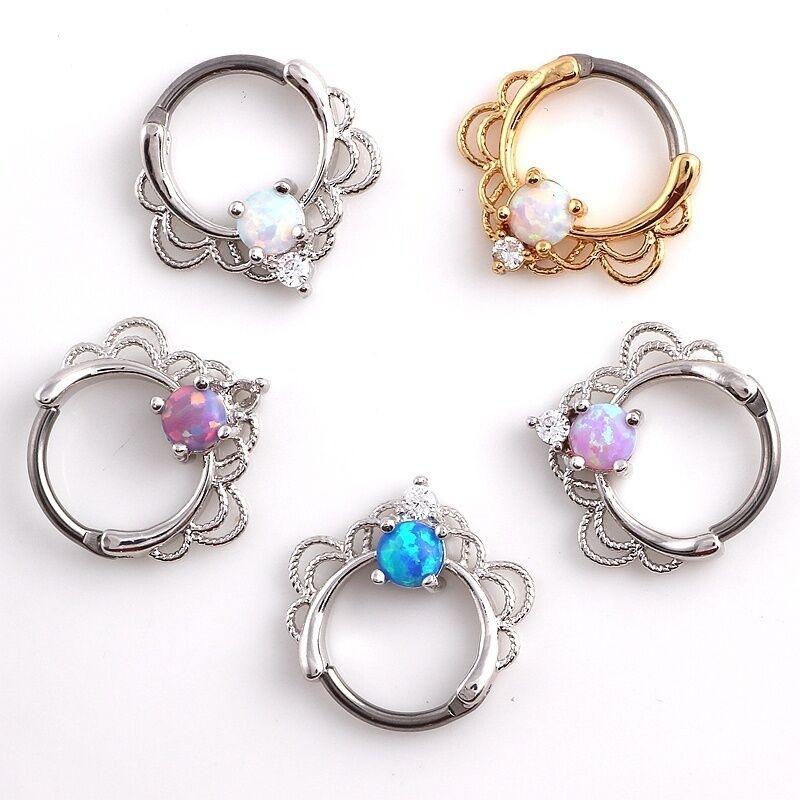 Opal Body Jewelry  Single Opal Septum Surgical Steel Pierced Nose Ring Body