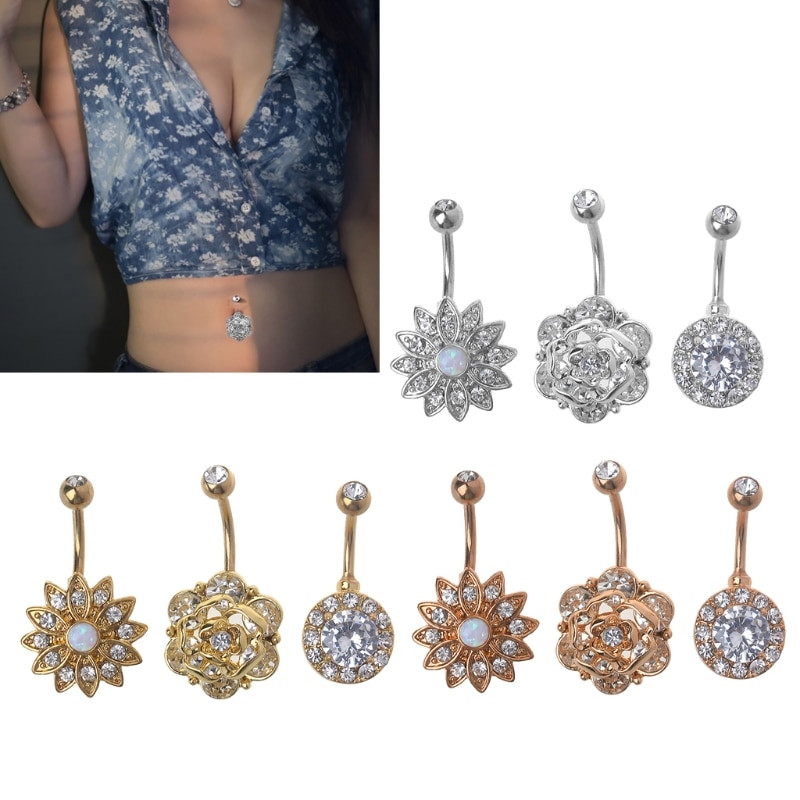 Opal Body Jewelry  3 pc Pure Lotus Belly Piercing Navel Opal Rings Opal Navel