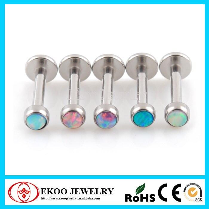Opal Body Jewelry  316L Surgical Steel Opal Labret Opal Body Jewelry 16Gauge