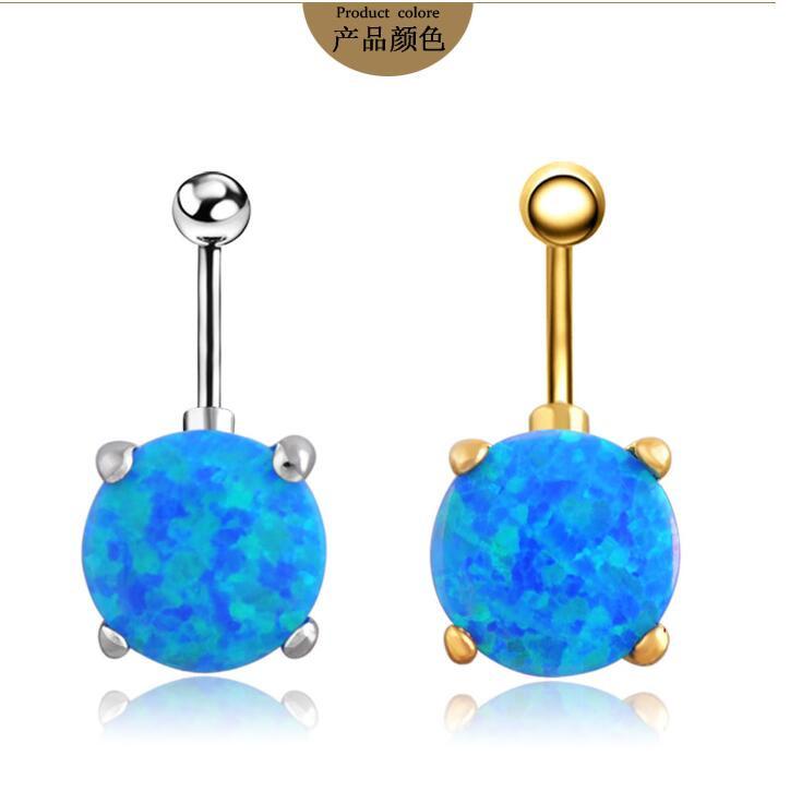Opal Body Jewelry  blue Opal Double Gemmed Belly Ring Opal Body Jewelry Gold
