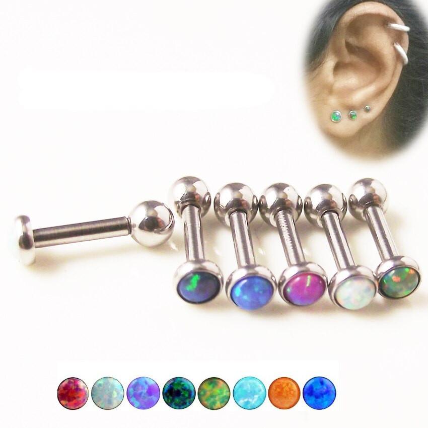 Opal Body Jewelry  1 Piece 16G Color Opal Tragus Ear Piercing Jewelry 316L