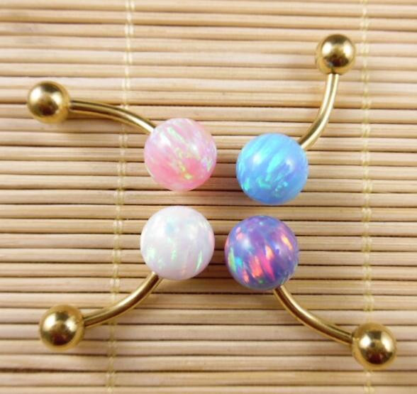 Opal Body Jewelry  Jeffreeing Star Opal Double Gemmed Belly Ring Opal Body