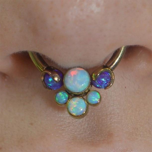 Opal Body Jewelry  Jewels nose ring opal septum piercing blue septum