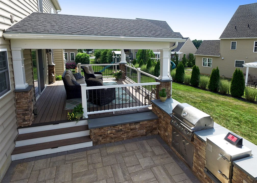 Outdoor Kitchen Deck  Custom TimberTech Deck Porch Lititz PA