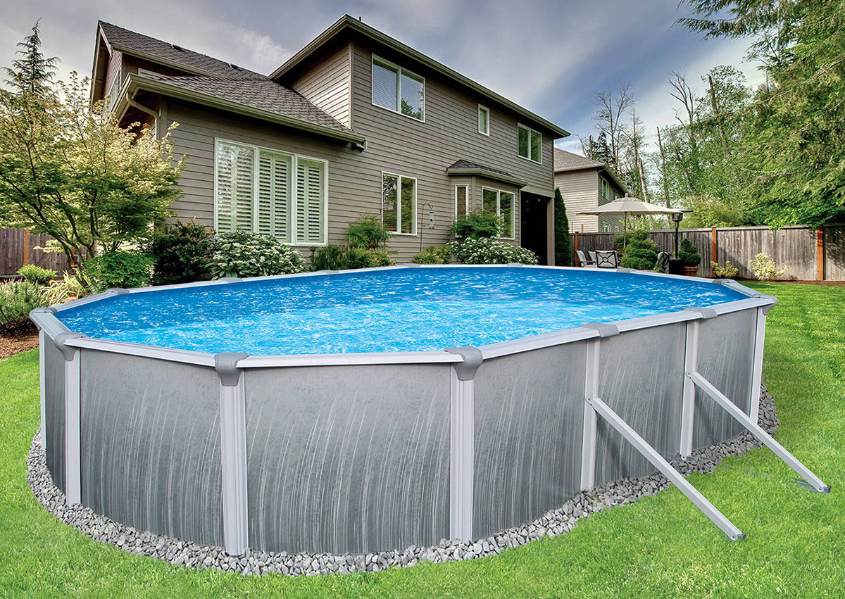 """Oval Above Ground Pool  12 x 24 Oval 52"""" Deep Martinique Ground Pool Package"""
