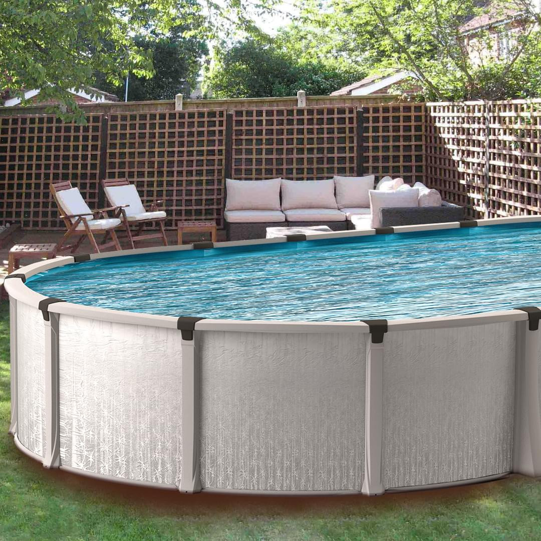Oval Above Ground Pool  Eternia 16 x 26 ft Oval Buttress Free Ground Pool