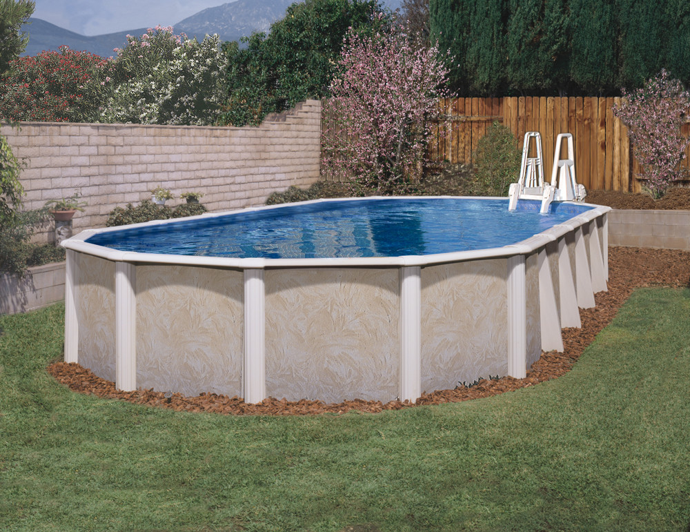 """Oval Above Ground Pool  18 x 33 Oval 52"""" Whispering Wind II & In Wall Step"""