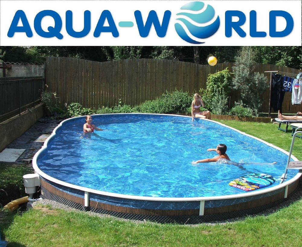 Oval Above Ground Pool  Aqua World Ground 30ft x 15ft Oval Swimming Pool