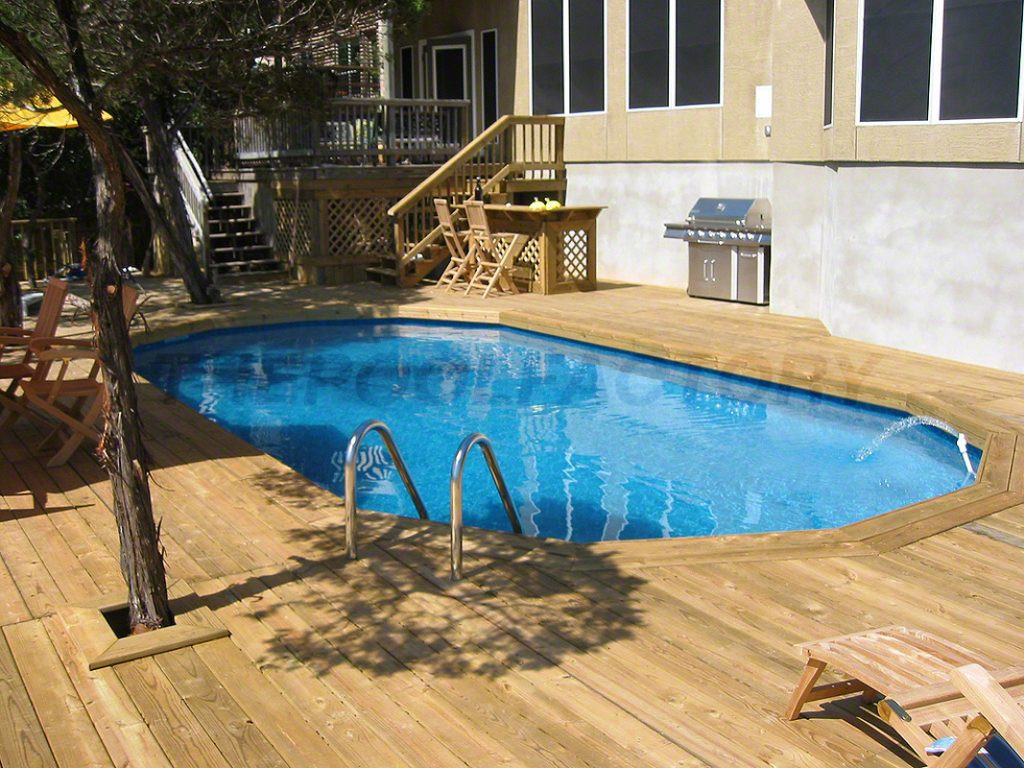 Oval Above Ground Pool  Pool Deck Ideas Full Deck The Pool Factory