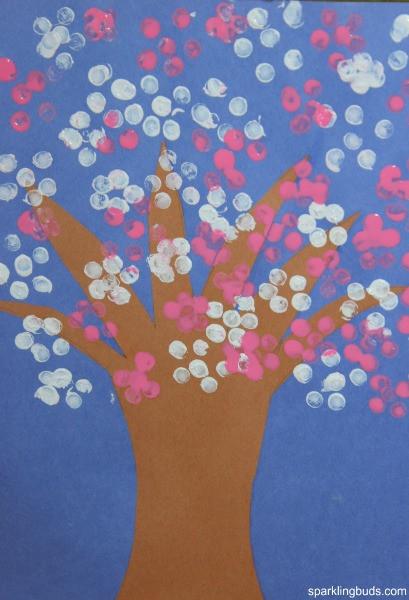 Paint Ideas For Preschoolers  Cherry blossom tree craft for preschoolers sparklingbuds