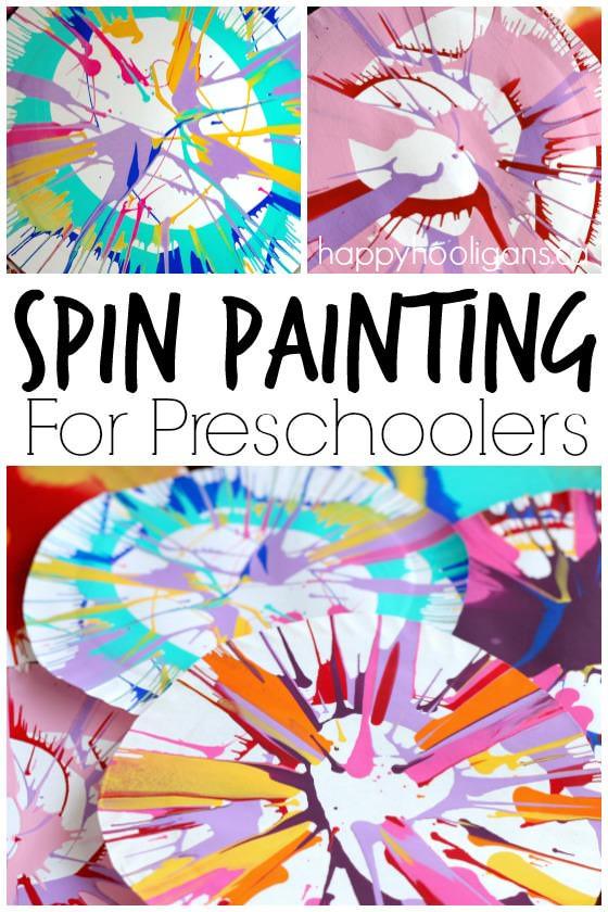 Paint Ideas For Preschoolers  Spin Painting for Preschoolers Happy Hooligans