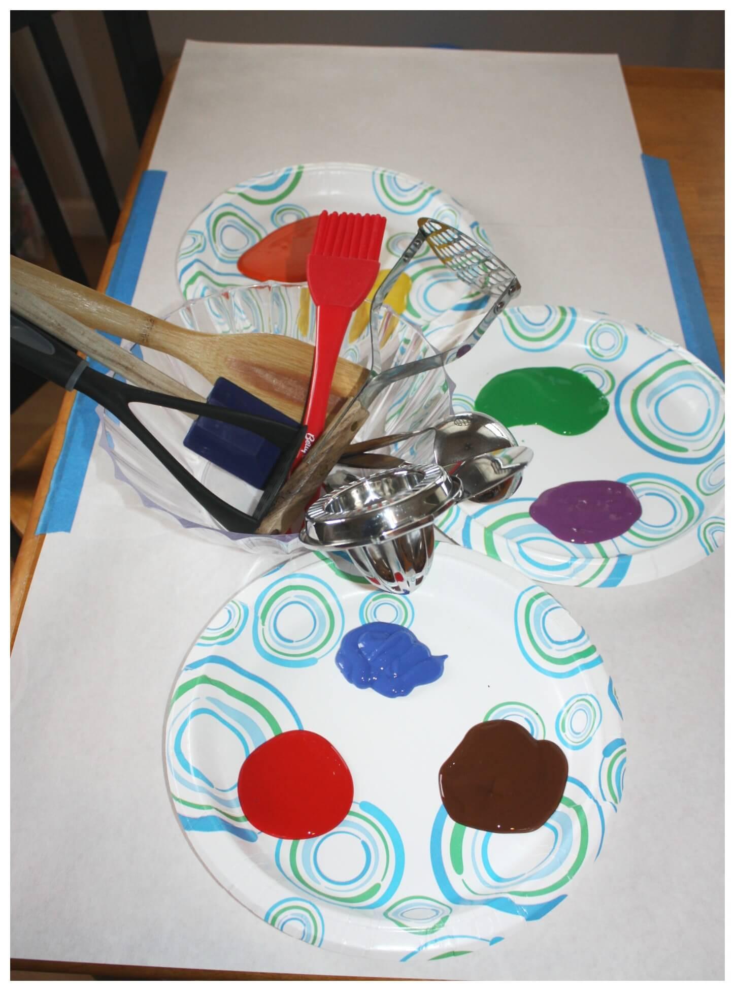 Paint Ideas For Preschoolers  Kitchen Utensil Preschool Painting Activity