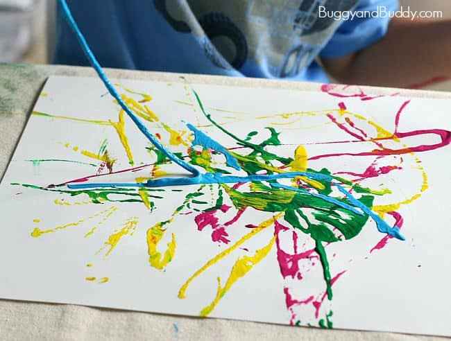 Paint Ideas For Preschoolers  Process Art for Preschoolers Painting with Yarn Buggy