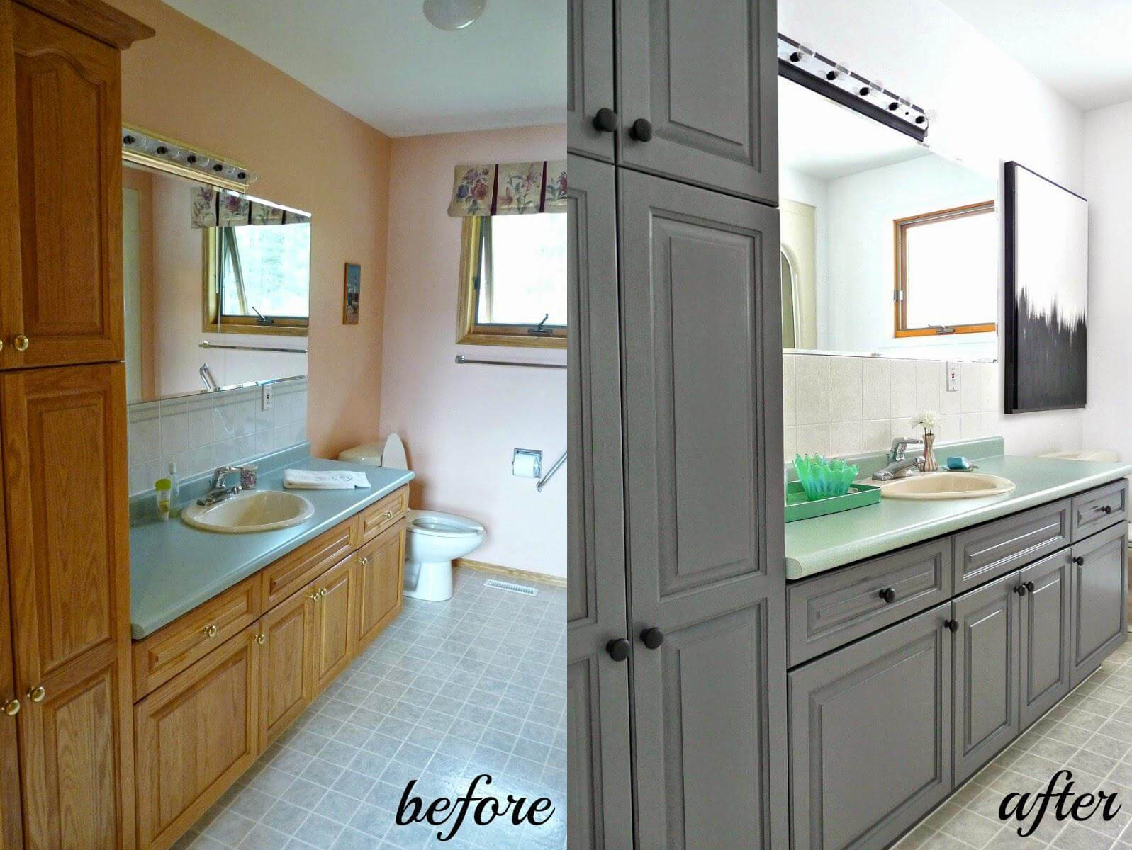 Painting Bathroom Cabinets  Easy Ways of Painting Bathroom Vanity [Before And After