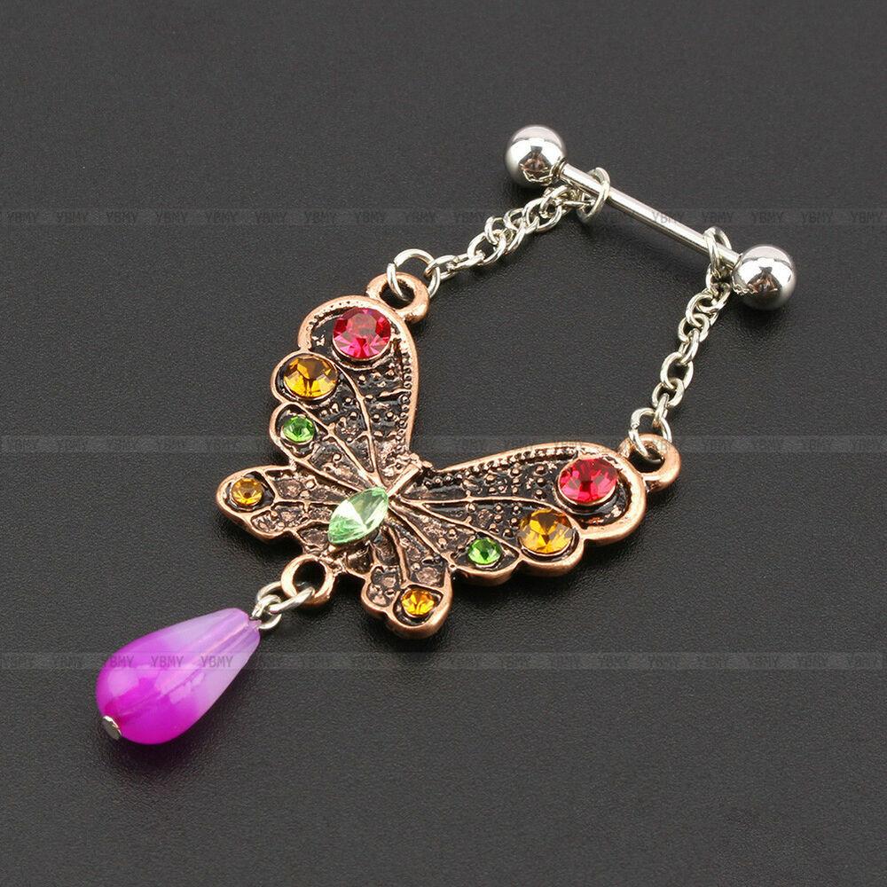Peircings Body Jewelry  Butterfly Body Jewelry Piercing Nipple Shield Bar Barbell