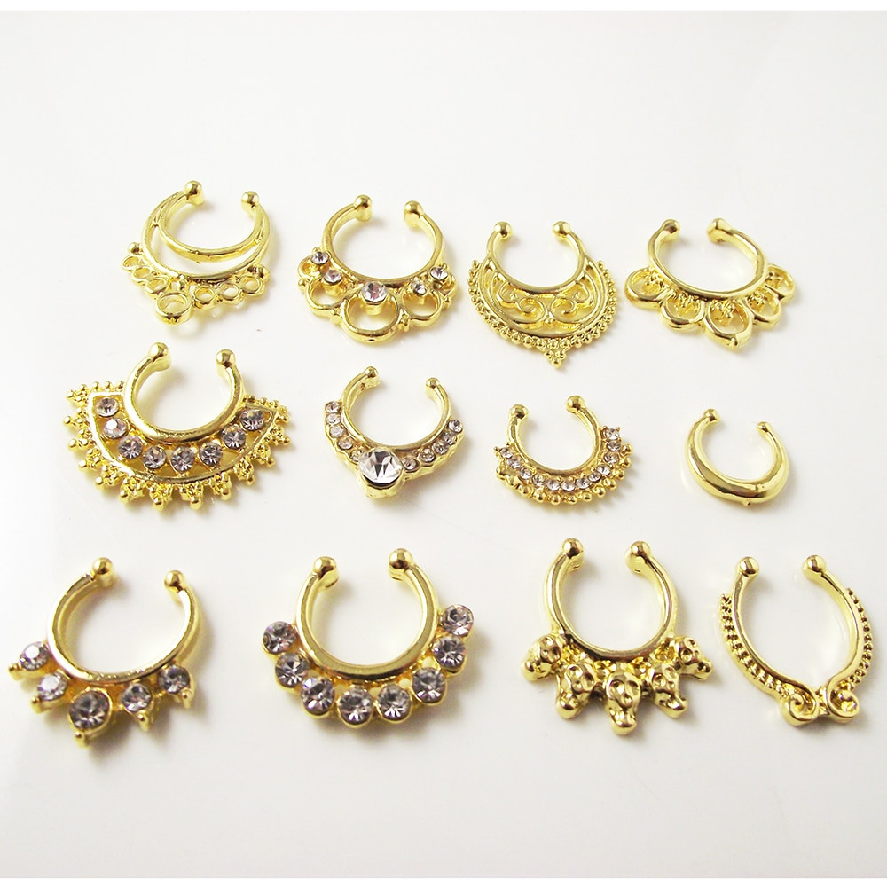 Peircings Body Jewelry  1 Piece Gold Crystal Nose Ring Fake septum rings Piercing