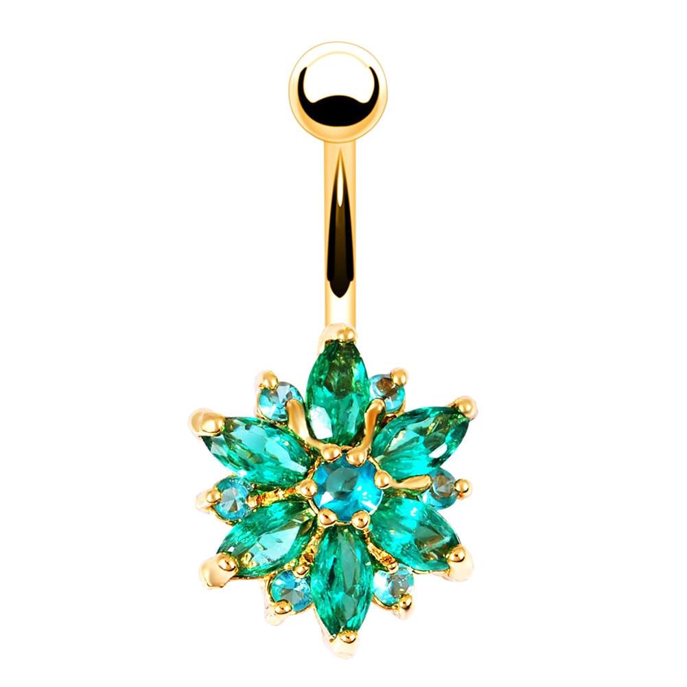 Peircings Body Jewelry  Body Piercing Jewelry Flower Shaped Rhinestone Navel Belly