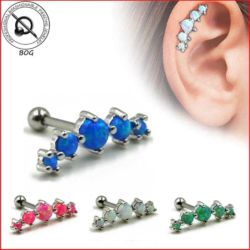 Peircings Body Jewelry  1PC Tragus Piercing Helix Prong Set 5 Synthetic Opal