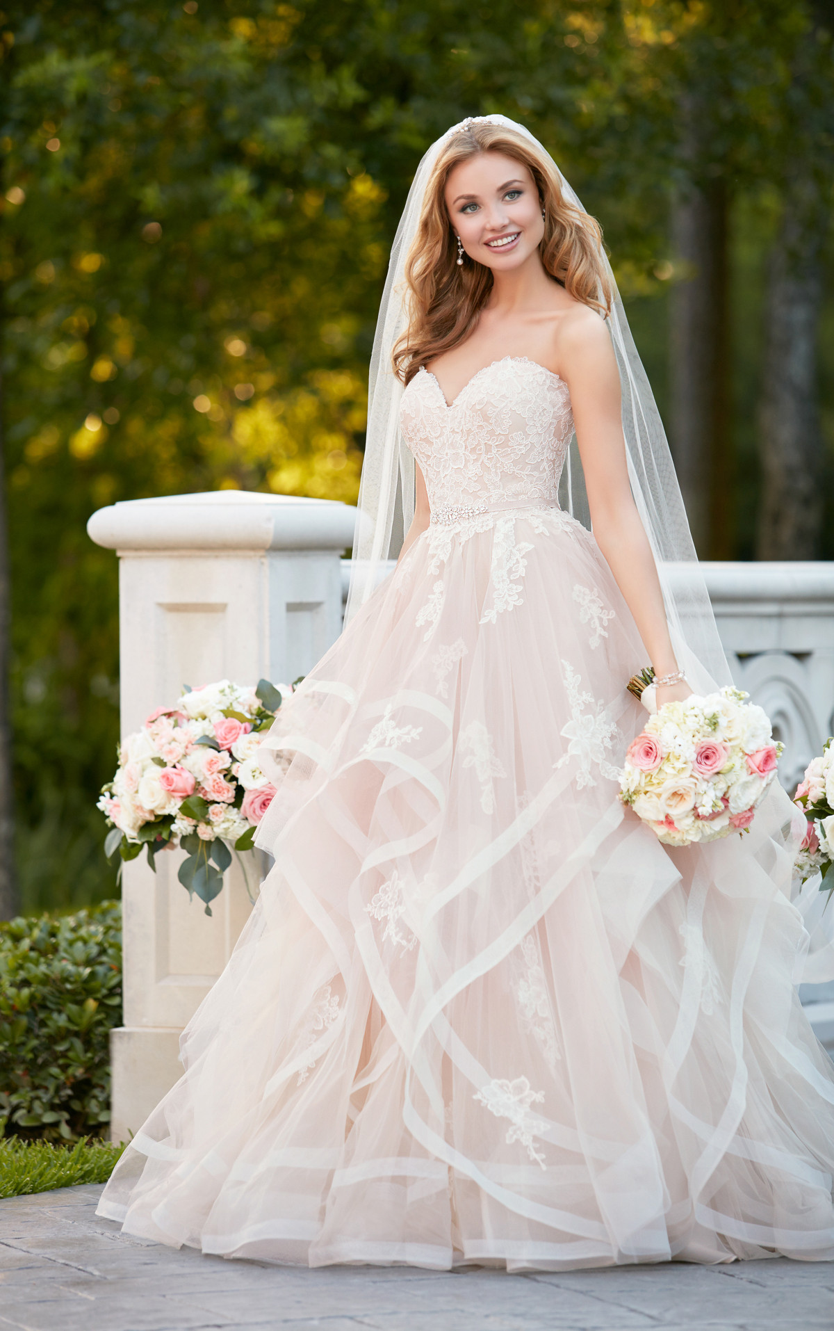Pink Gowns Dress For Weddings  Pink Floral Bridal Gown with Textured Skirt