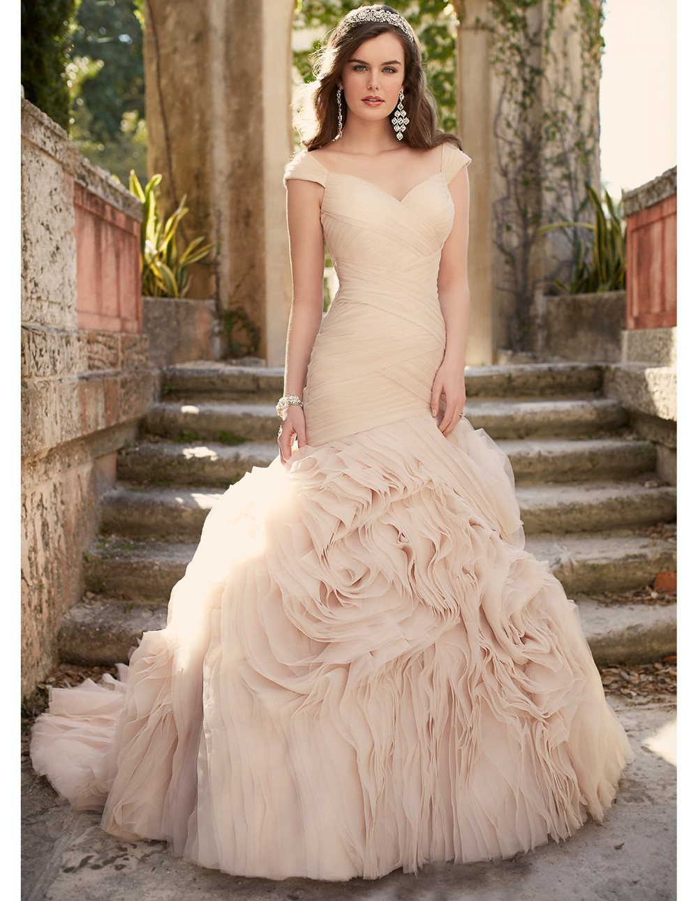 Pink Gowns Dress For Weddings  2016 blush pink wedding dresses cheap formal bridal