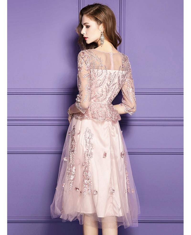 Pink Gowns Dress For Weddings  Pink Lace Knee Length Formal Dress For Wedding Guests With