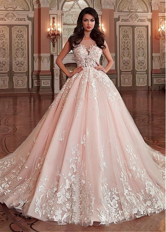 Pink Gowns Dress For Weddings  Stunning Light Pink Wedding Dress Appliques Lace