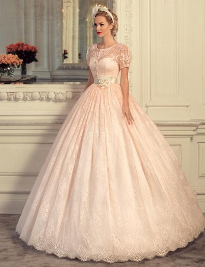 Pink Gowns Dress For Weddings  Charming 2016 New Lovely Vintage Pink Lanter Sleeve Lace