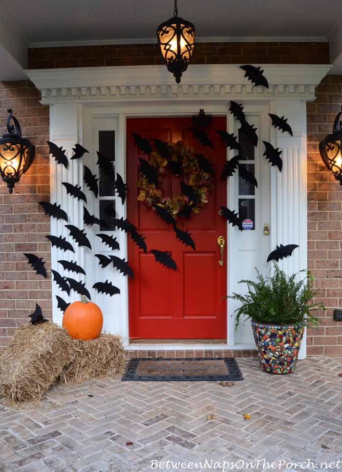 Porch Decorated For Halloween  Halloween Porch Decorations With Flying Bats