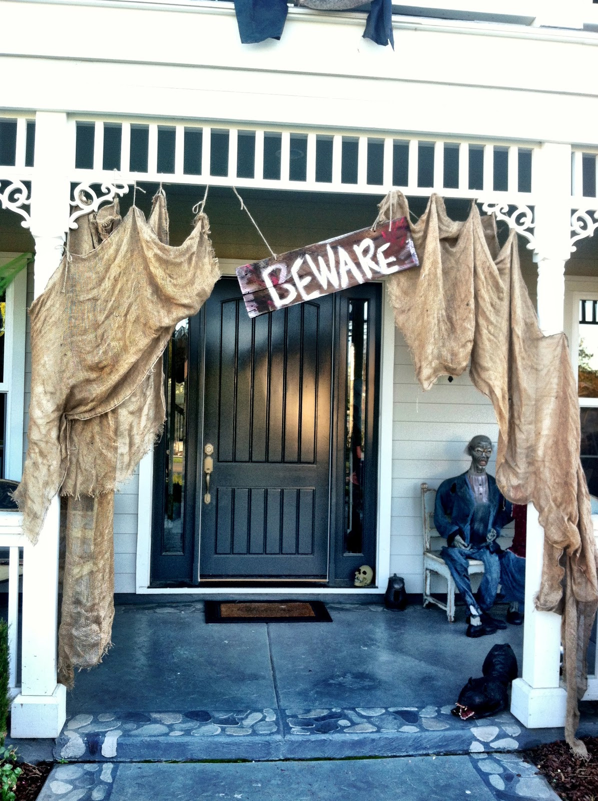Porch Decorated For Halloween  How to Halloween Curb Appeal