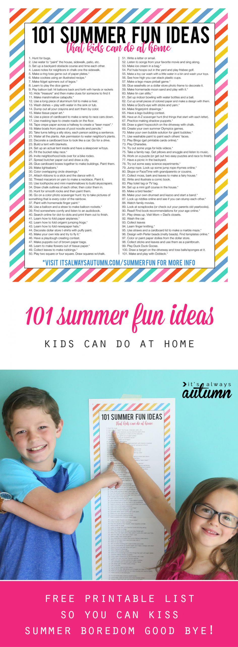 Projects For Kids At Home  101 summer fun ideas that kids can do at home It s