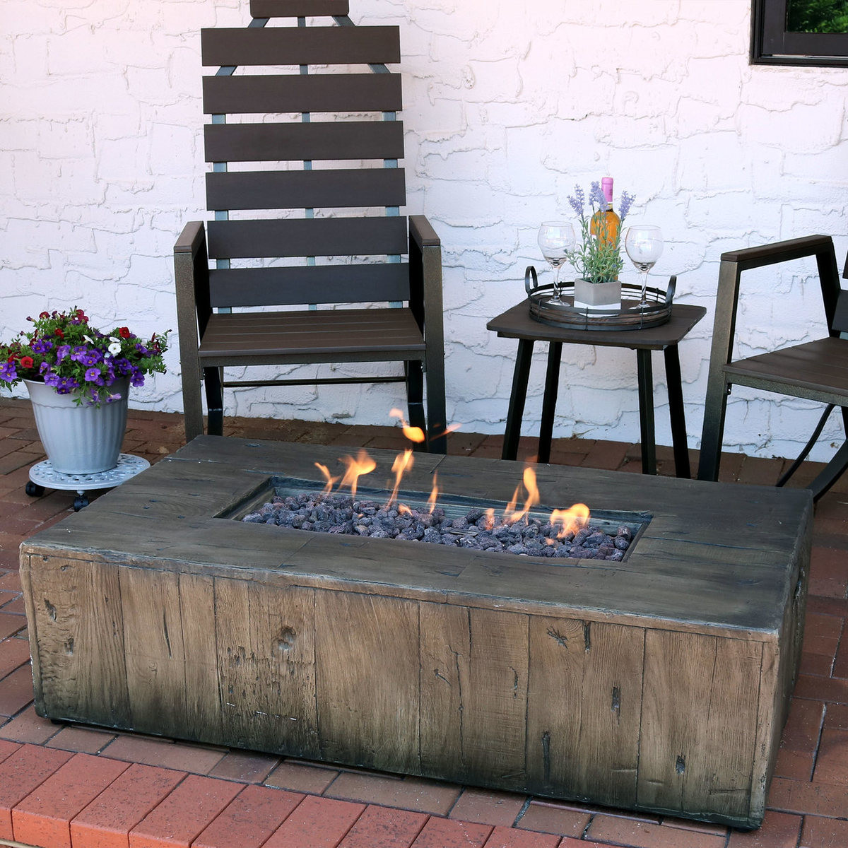 Propane Fire Pit Coffee Table  Sunnydaze 48 Inch Rustic Faux Wood Outdoor Propane Gas