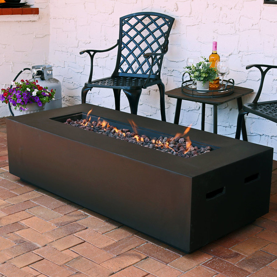 Propane Fire Pit Coffee Table  Sunnydaze 56 Inch Brown Modern Rectangular Liquid Propane