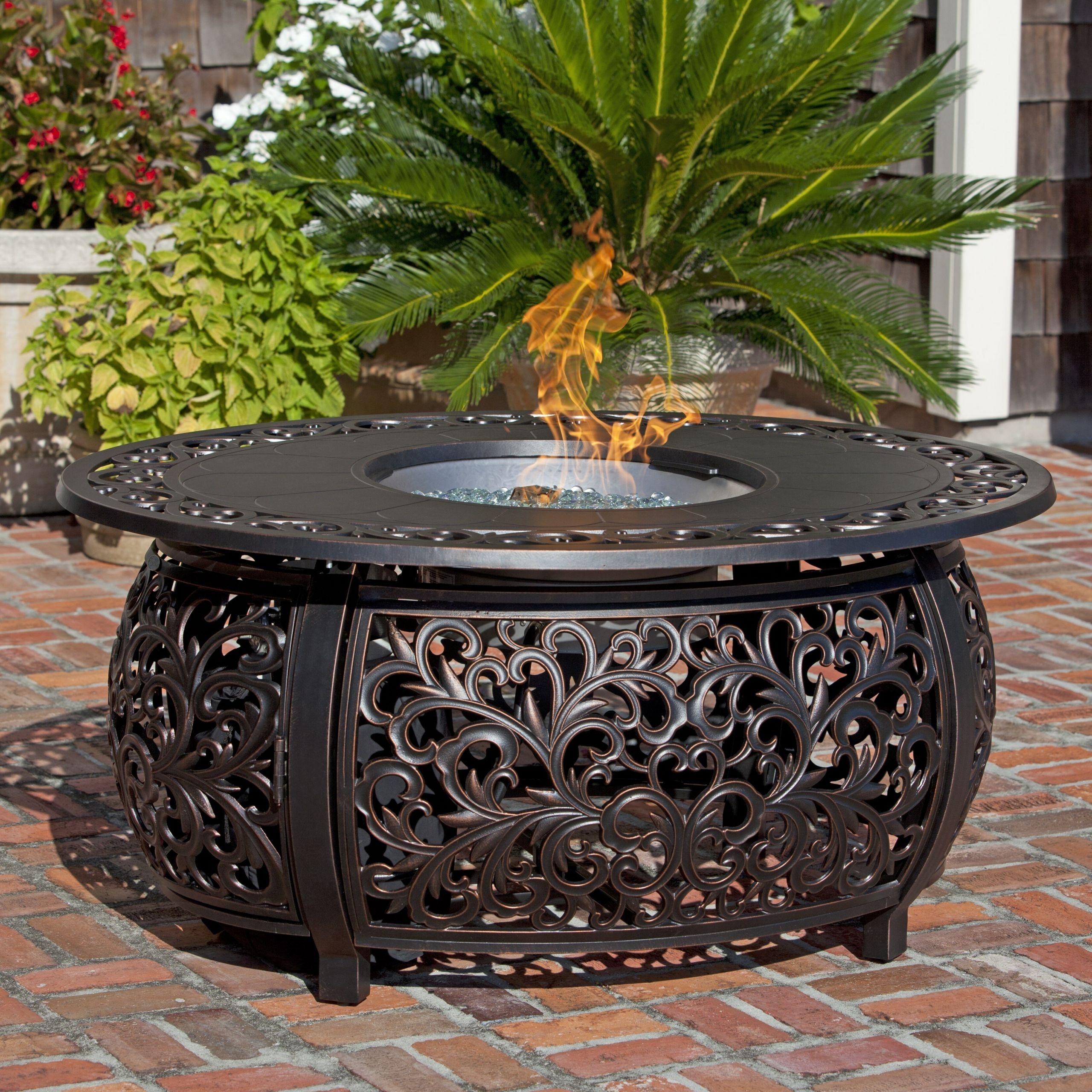 Propane Fire Pit Table Set  Fire Sense Toulon Propane Fire Pit Table
