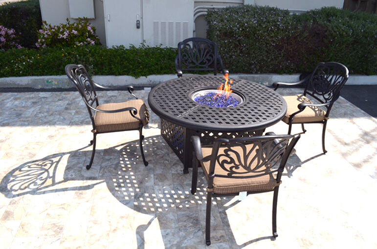 Propane Fire Pit Table Set  Outdoor Patio Furniture Set 5Pc Propane Gas Fire Pit Table
