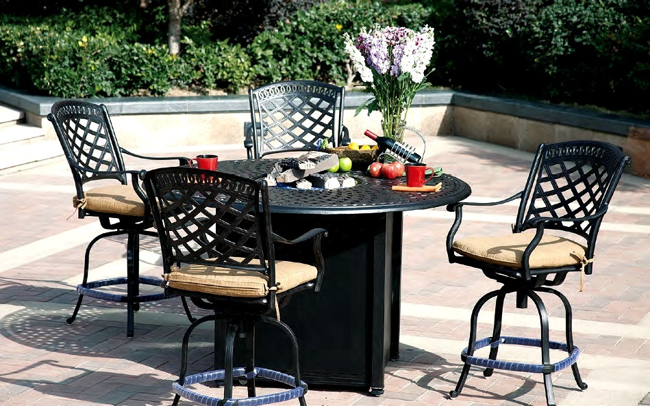 """Propane Fire Pit Table Set  Patio Furniture Dining Set Cast Aluminum 60"""" Round Counter"""