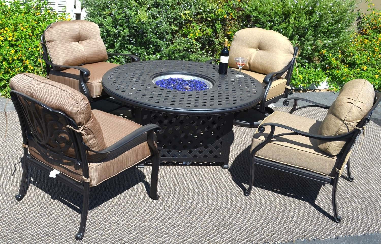 Propane Fire Pit Table Set  Outdoor Propane Fire Pit Table Set of 5 Elisabeth Deep