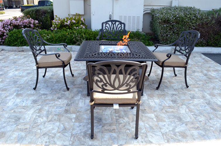 Propane Fire Pit Table Set  Patio conversation set cast aluminum Furniture Propane