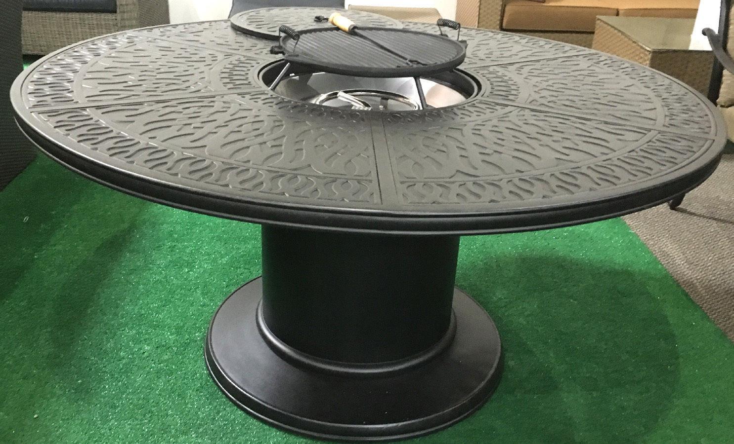 Propane Fire Pit Table Set  Propane fire pit table 7 pc Nassau patio dining set