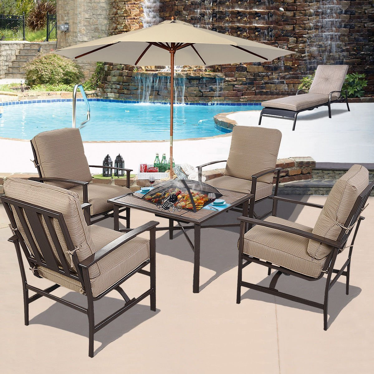Propane Fire Pit Table Set  Gas Fire Pit Clearance Round Propane Table Dining Set With