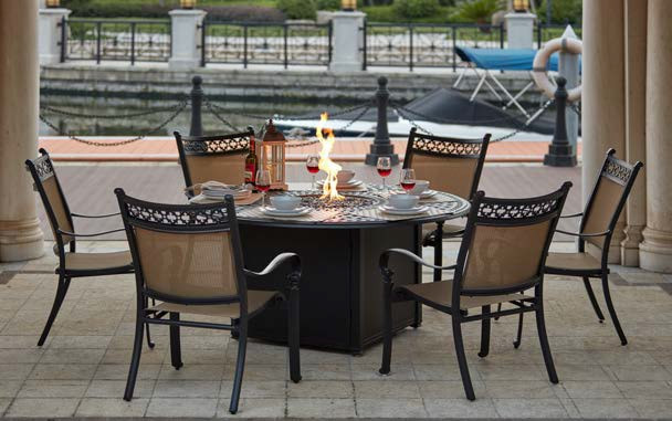 "Propane Fire Pit Table Set  Patio Furniture Dining Set Cast Aluminum 60"" Round Propane"