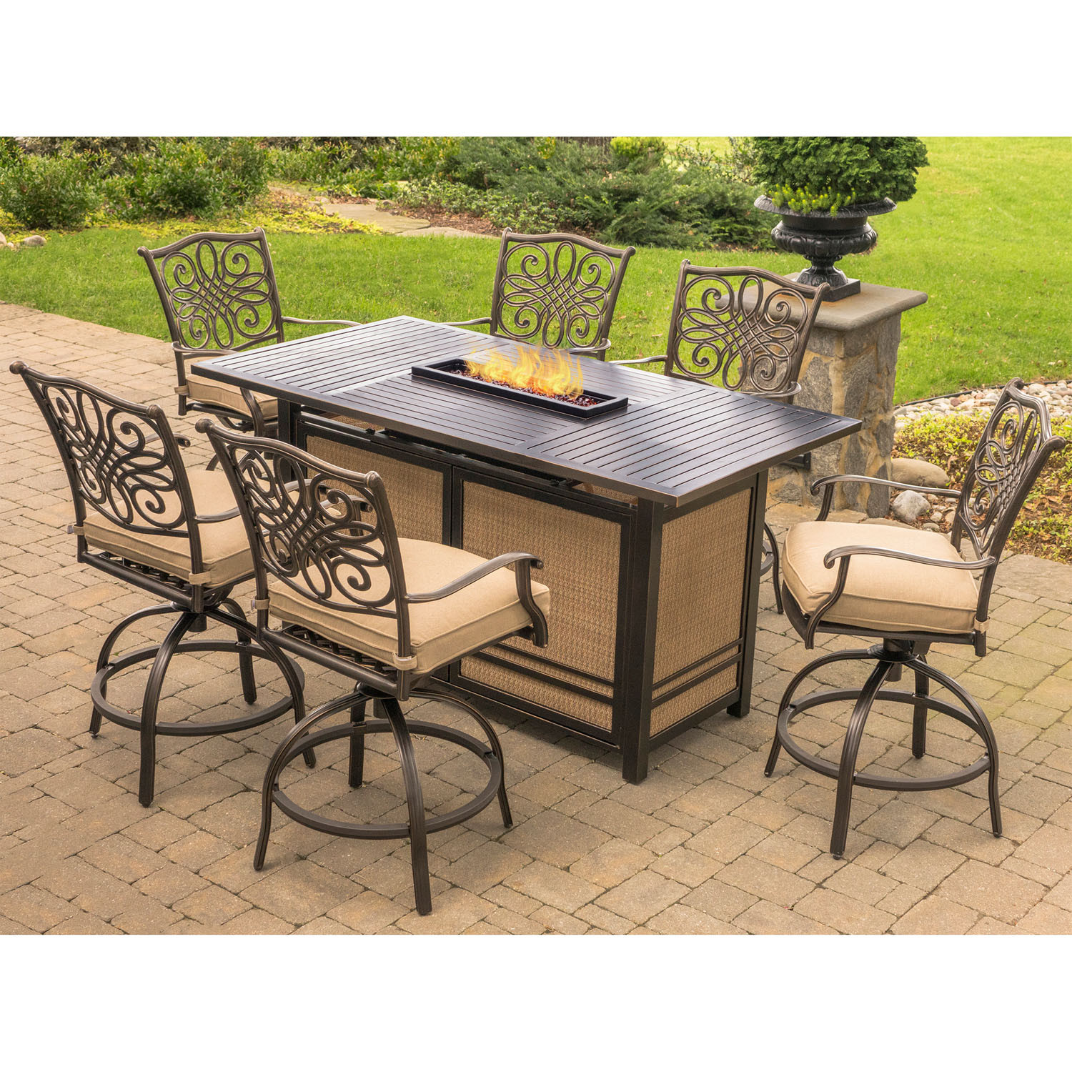 Propane Fire Pit Table Set  Hanover Traditions 7 Piece High Dining Set in Tan with