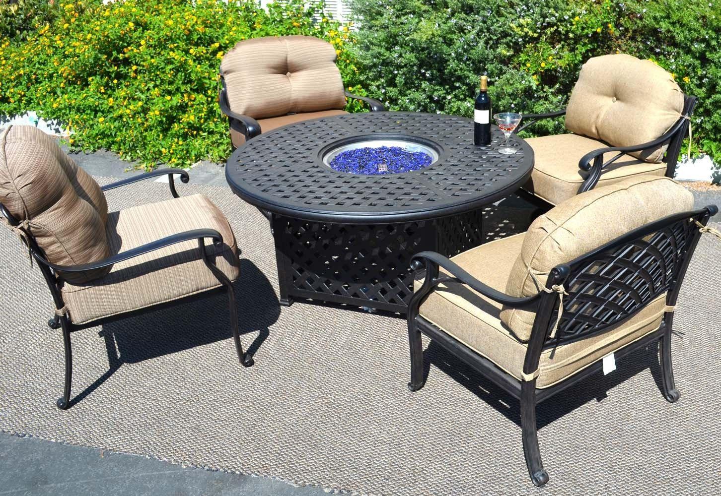 Propane Fire Pit Table Set  Propane Fire Pit 5pc Set Conversation Patio Furniture